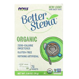 Now Foods, Organic Better Stevia, Zero-Calorie Sweetener, 75 Packets, 2.65 oz (75 g)