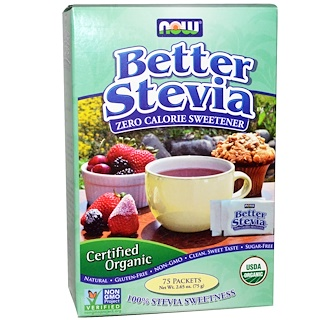 Now Foods, Certified Organic, Better Stevia, 75 Packets, 2.65 oz (75 g)