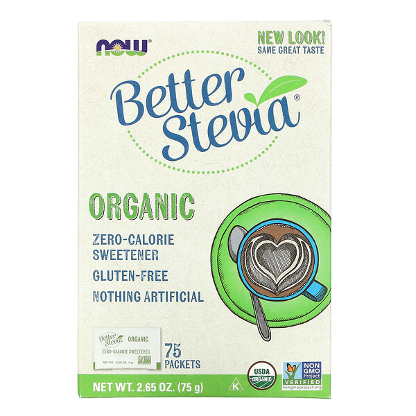 Organic Better Stevia, Zero-Calorie Sweetener, 75 Packets, 2.65 oz (75 g)
