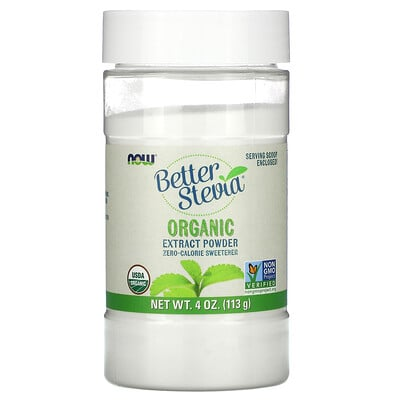 Now Foods Сертифицированный органический экстракт стевии, порошок, 4 унции (113 г)