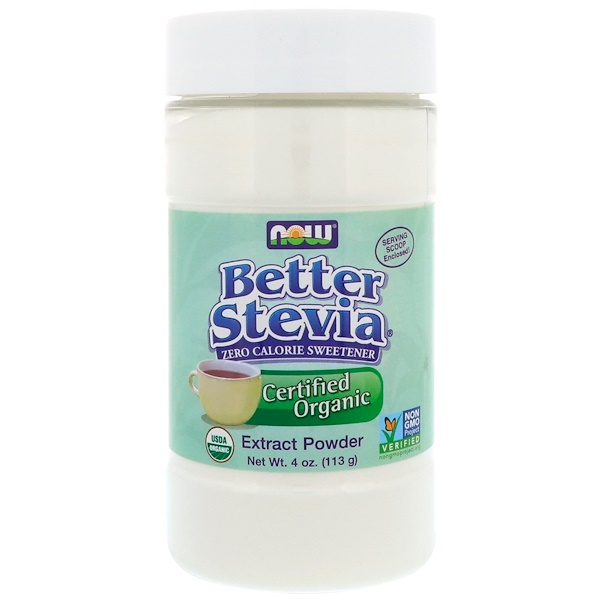 Now Foods, Orgánico certificado, Better Stevia, extracto en polvo, 4 oz (113 g)