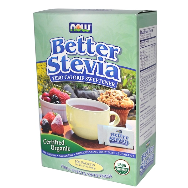 Now Foods, BetterStevia, Сертифицированная органика, 100 пакетиков, 3,5 унции (100 г) (Discontinued Item)