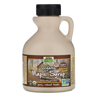 Купить Now Foods Real Food, органический кленовый сироп, классA, темного цвета, 473мл