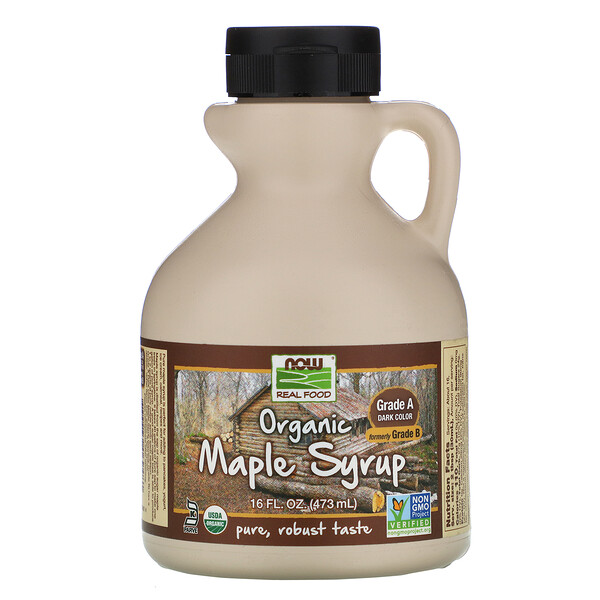 Real Food, Organic Maple Syrup, Grade A, Dark Color, 16 fl oz (473 ml)