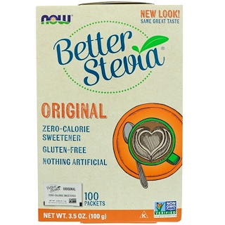 Now Foods, BetterStevia, Zero Calorie Sweetener, Original, 100 Packets, 3.5 oz (100 g)