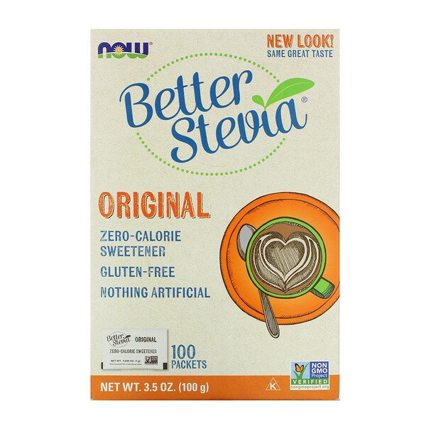 Now Foods, Better Stevia, Zero-Calorie Sweetener, Original, 100 Packets, 3.5 oz (100 g)