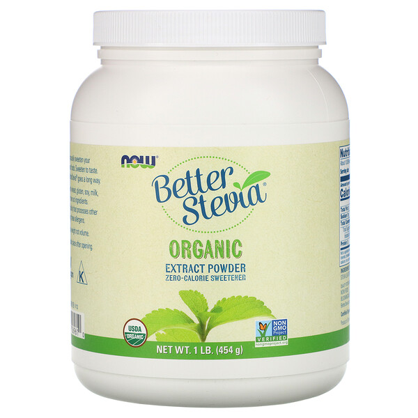Now Foods, Better Stevia, Organic Extract Powder, 1 фунт (454 г)