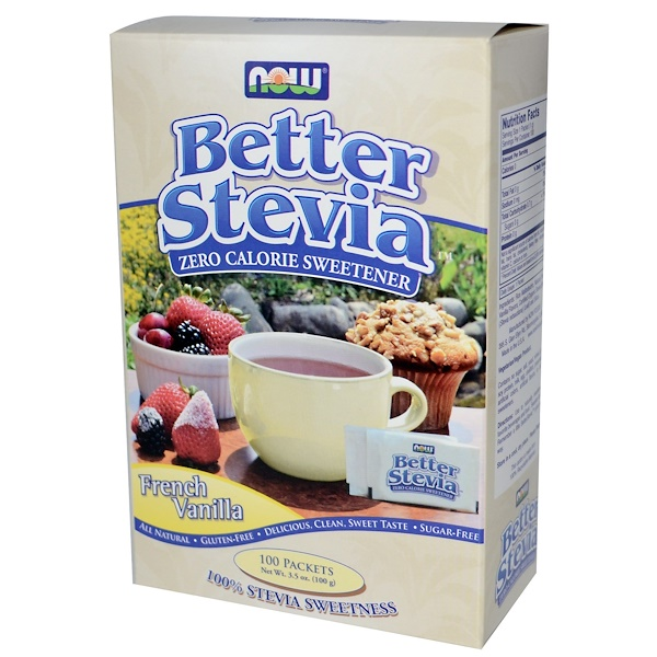 Now Foods, BetterStevia, Zero Calorie Sweetener, French Vanilla, 100 Packets, 1 g Each (Discontinued Item)