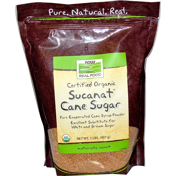 Now Foods, Real Food, Certified Organic, Sucanat Cane Sugar, 2 lbs (907 g)