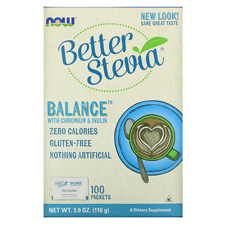 Now Foods, Better Stevia, Balance mit Chrom & Inulin, 100Beutel, je 1,1g