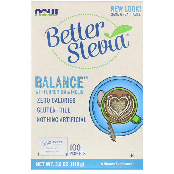 Now Foods, Better Stevia, Balance with Chromium & Inulin, 100 Packets, (1.1 g) Each