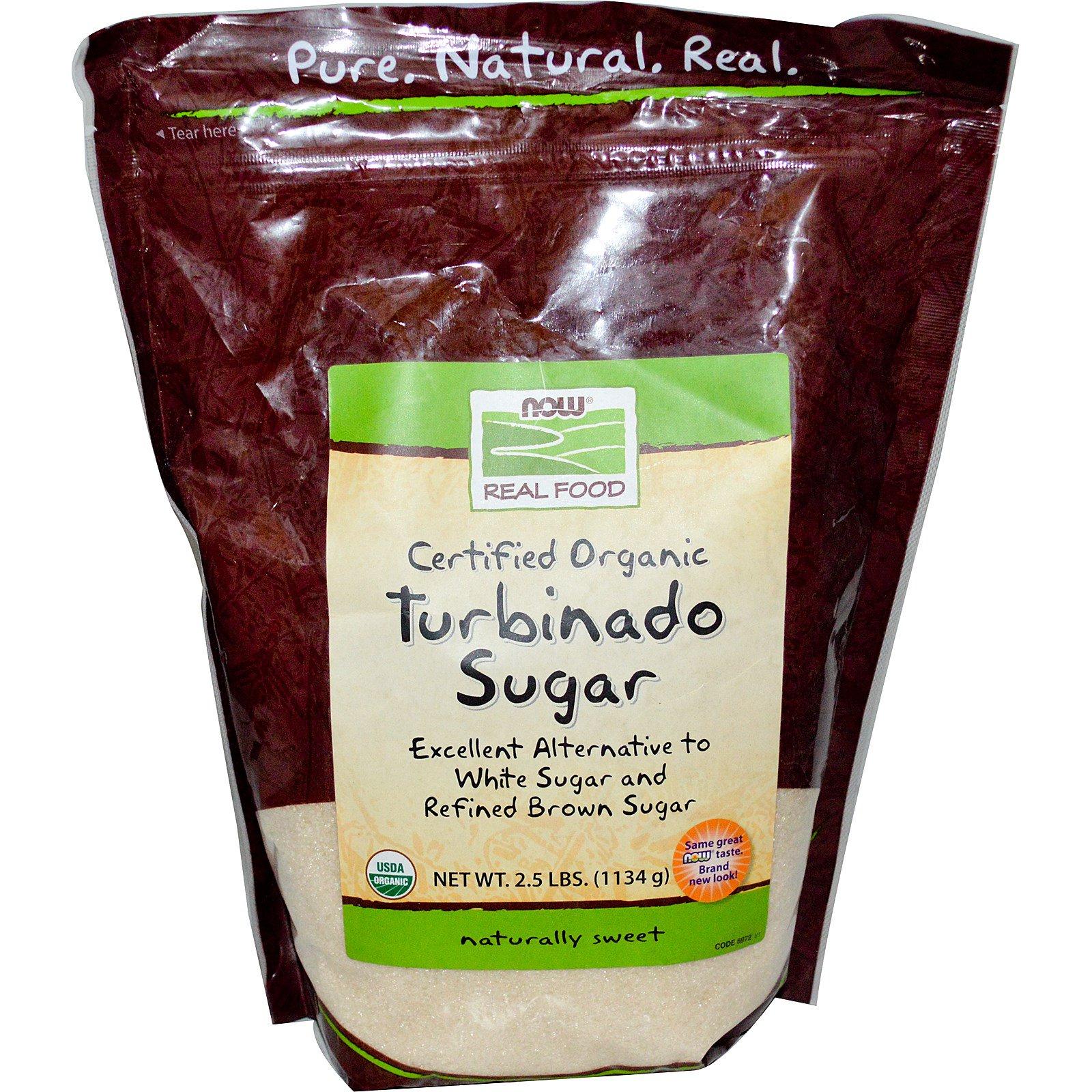 Now Foods, Real Food, Certified Organic, Turbinado Sugar, 2 5 lbs (1134 g)  (Discontinued Item)