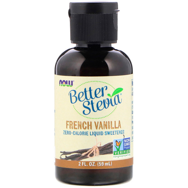 Now Foods, Edulcorante líquido Better Stevia, vainilla francesa, 2 fl. Oz (59 ml)