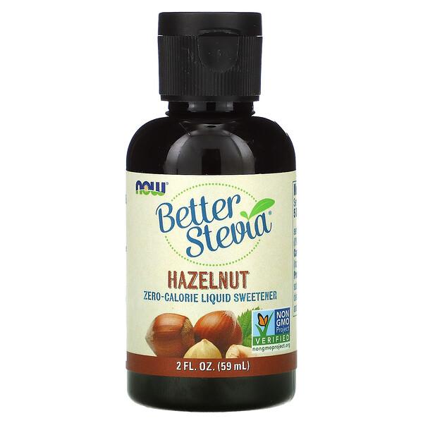 Now Foods, Better Stevia, Zero-Calorie Liquid Sweetener, Hazelnut, 2 fl oz (59 ml)
