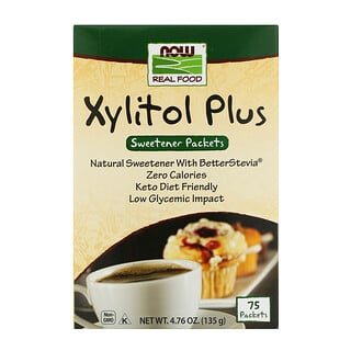 Now Foods, Real Food, Xylitol Plus, 75 Packets, 4.76 oz (135 g)