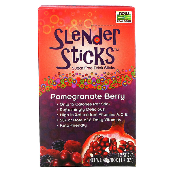 Now Foods, Real Food, Slender Sticks, Pomegranate Berry, 12 Sticks, 0.14 oz (4 g) Each