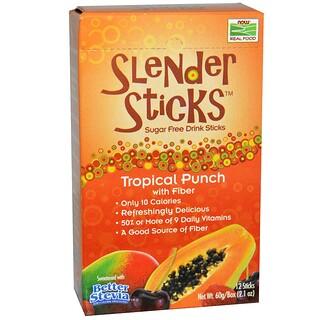 Now Foods, リアルフード、スレンダースティックス、トロピカルパンチ 食物繊維入り、12スティック、各5 g