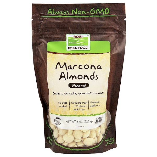 Now Foods, Real Food, Marcona Almonds, Blanched, 8 oz (227 g)
