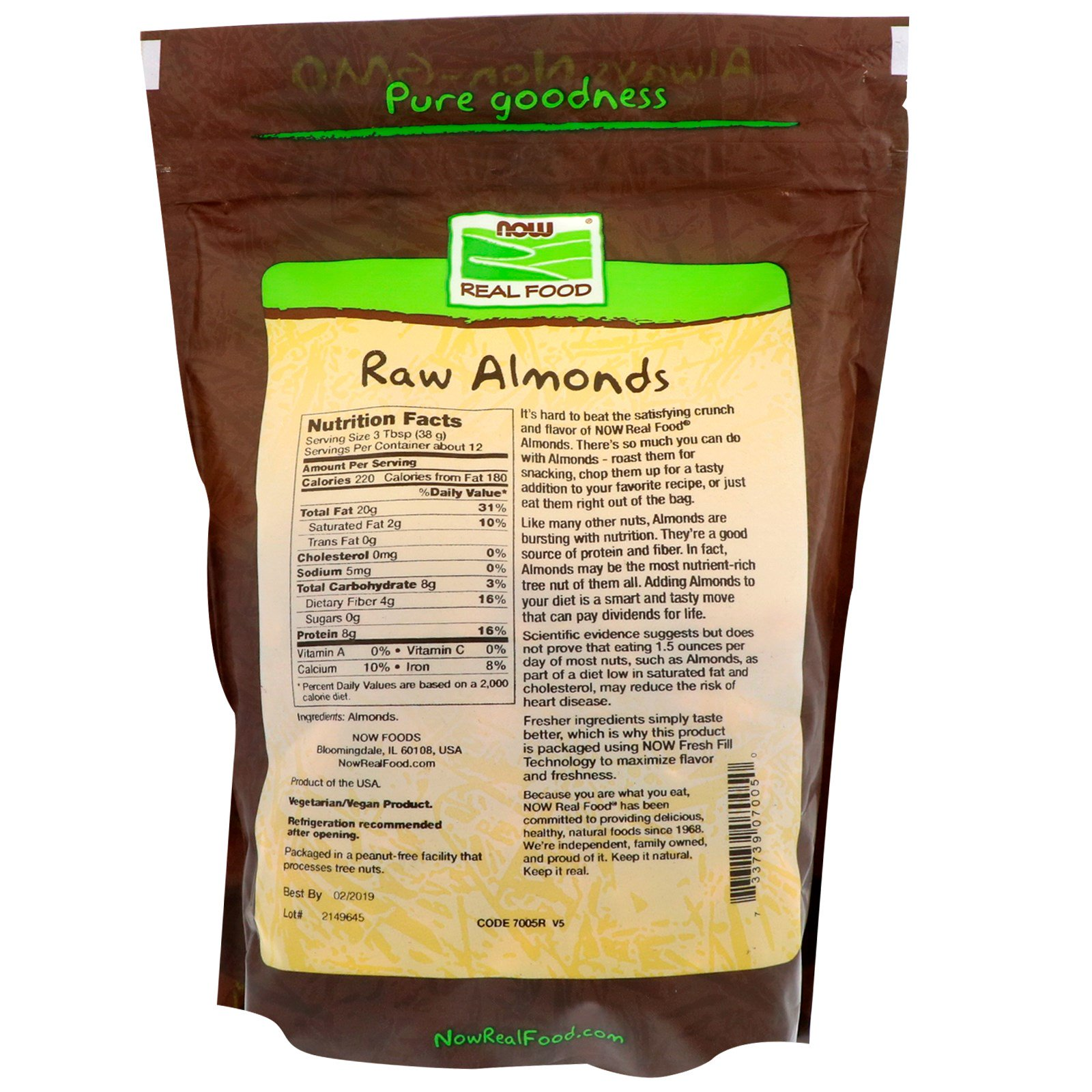 Real Food, Raw Almonds, Unsalted, 16 oz