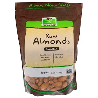 Now Foods, Real Food, Almendras sin sal, 16 oz (454 g)