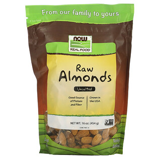 Now Foods, Real Food, Amandes brutes, Non salées, 16 oz (454 g)