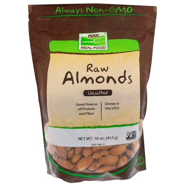 Real Food, Raw Almonds, Unsalted, 16 oz (454 g)