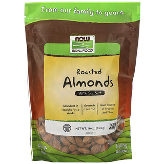 Now Foods, Real Food, 구운 아몬드, 바다 소금 첨가, 16 oz (454 g)