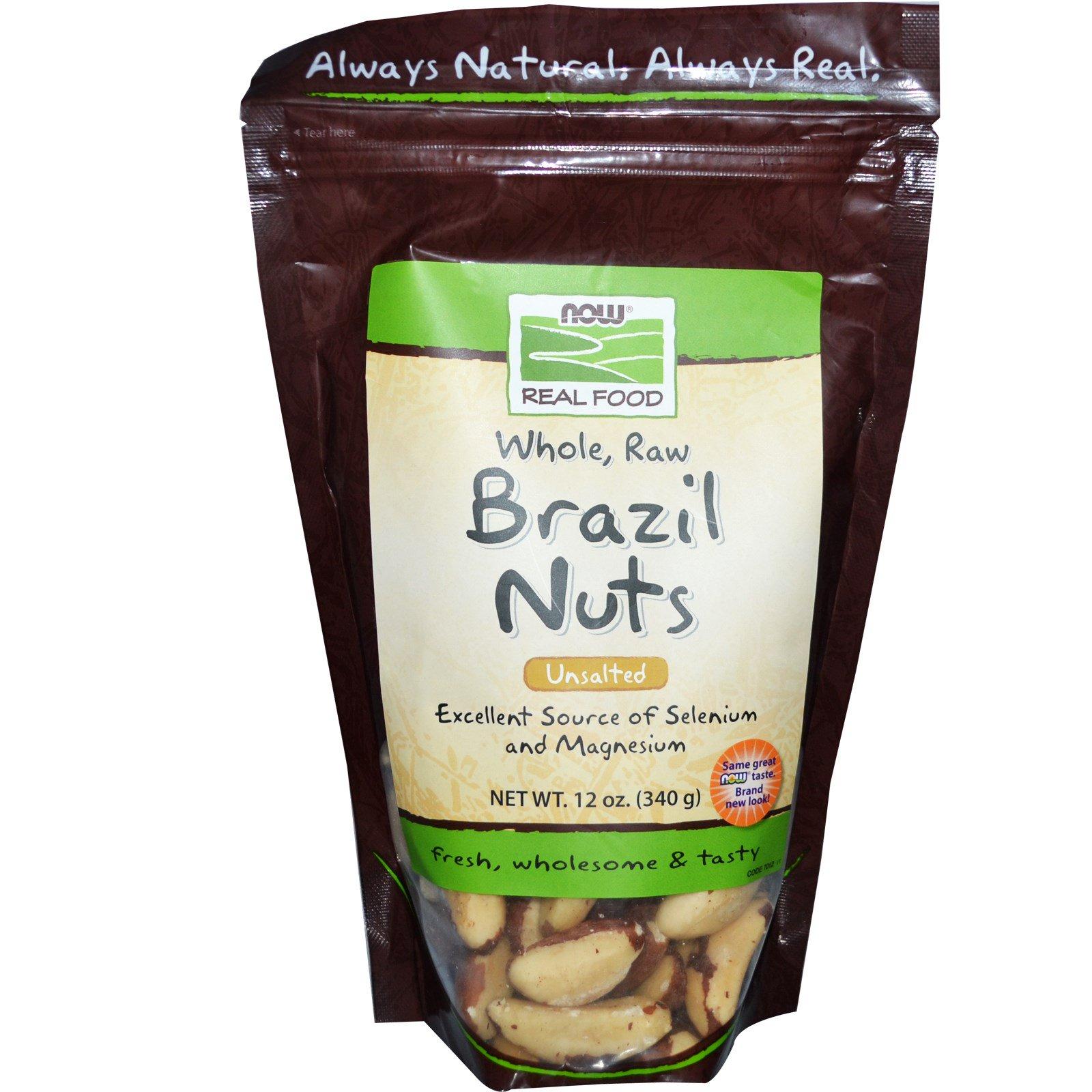 Now Foods, Настоящая пища, цельные сырые бразильские орехи, без соли, 12 унций (340 г)