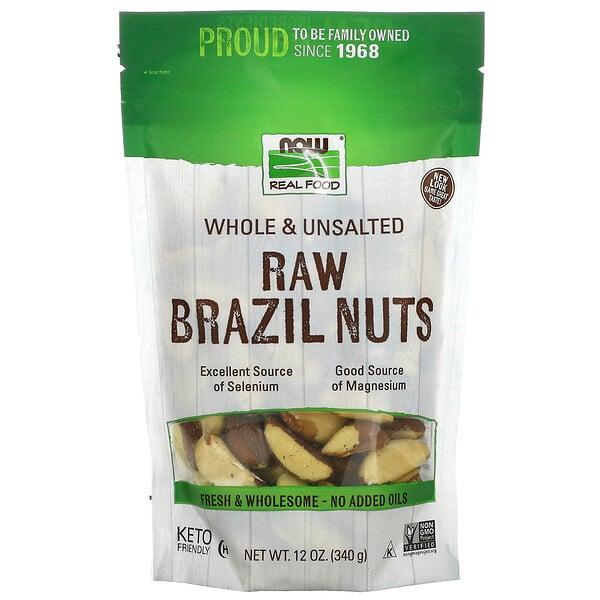 Now Foods, Real Food, Raw Brazil Nuts, rohe Paranüsse, ungesalzen, 340g (12oz.)