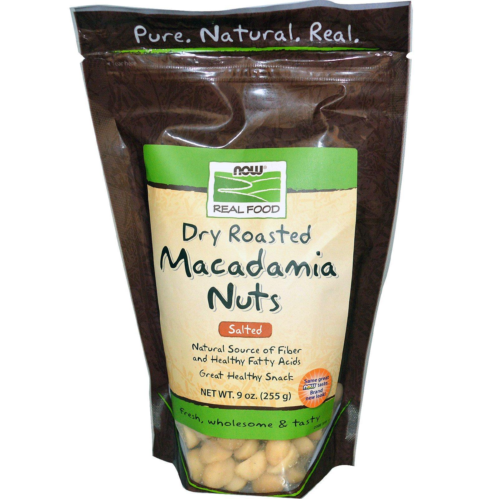 Now Foods, Орехи макадамии, жареные всухую, с солью, 9 унций (255 г)