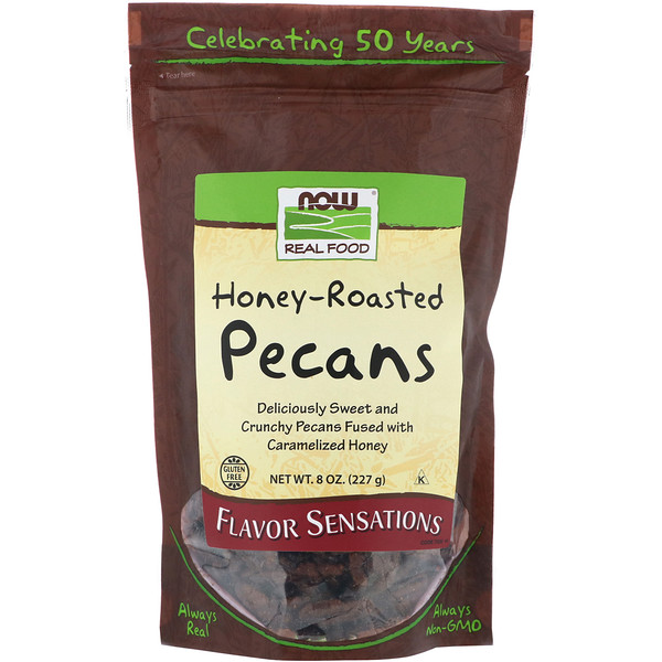 Now Foods, Real Food, Honey Roasted Pecans, 8 oz (227 g)