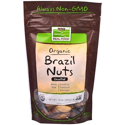 Now Foods 健康食品,有機巴西堅果,無鹽,10盎司(284克)