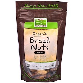 Now Foods, Real Food, Organic Brazil Nuts, Unsalted, 10 oz (284 g)