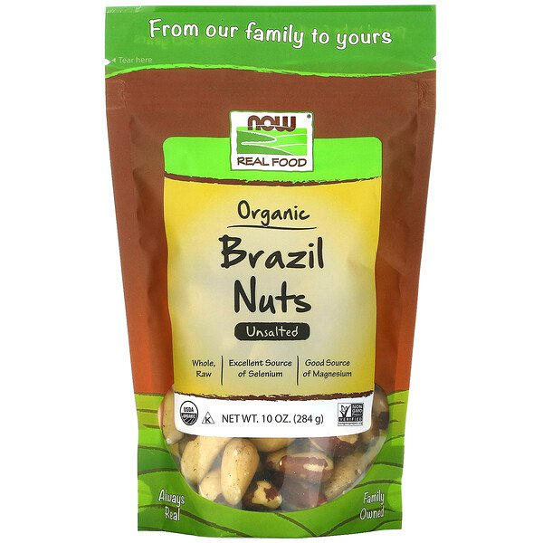 Real Food, Organic Brazil Nuts, Unsalted, 10 oz (284 g)