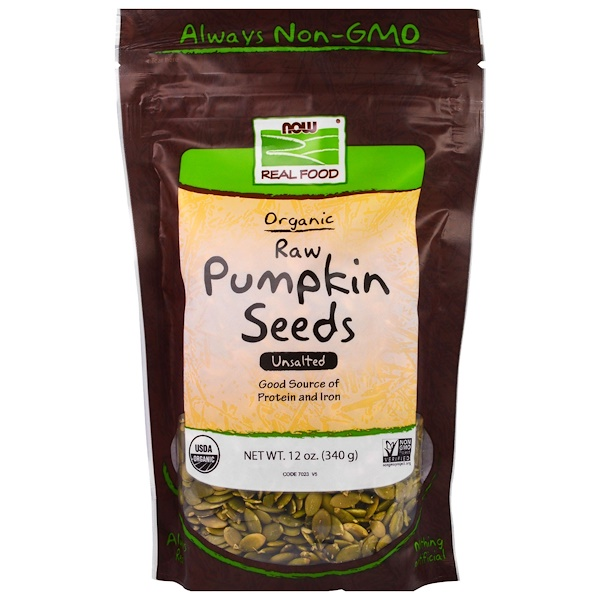 Now Foods, Real Food, Organic, Raw Pumpkin Seeds, Unsalted, 12 oz (340 g)