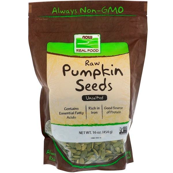Now Foods, Raw Pumpkin Seeds, Unsalted, 16 oz (454 g)
