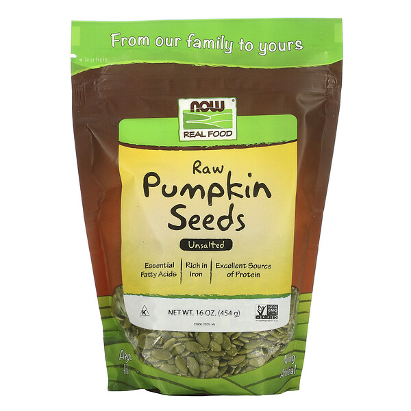 Real Food, Raw Pumpkin Seeds, Unsalted, 16 oz (454 g)