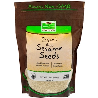 Now Foods, Organic, Raw Sesame Seeds, 16 oz (454 g)