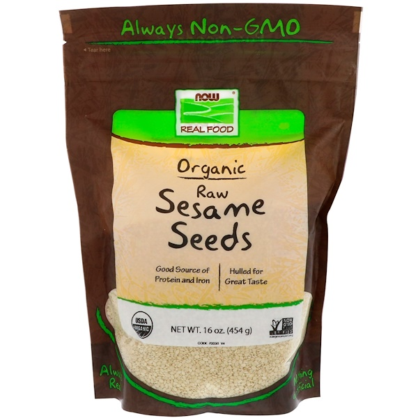 Now Foods, Real Food, Organic Raw Sesame Seeds, 16 oz (454 g)