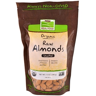 Now Foods, Real Food, Organic Raw Almonds, Unsalted, 12 oz (340 g)