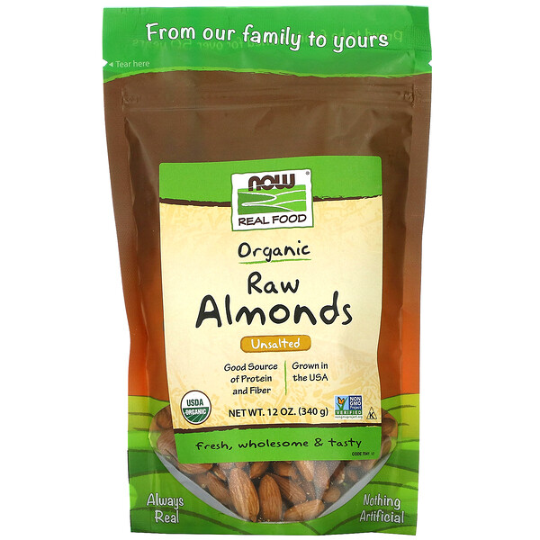 Real Food, Organic Raw Almonds, Unsalted, 12 oz (340 g)