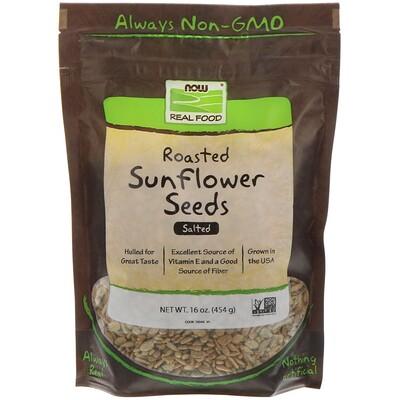 Now Foods Настоящая пища, жареные семена подсолнечника, соленые, 16 унций (454 г)