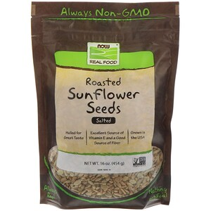 Now Foods, Real Food, Roasted Sunflower Seeds, Salted, 16 oz (454 g) отзывы покупателей