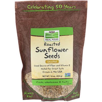 Now Foods Семена подсолнечника, обжаренные, несоленые, 16 унций (454 г)