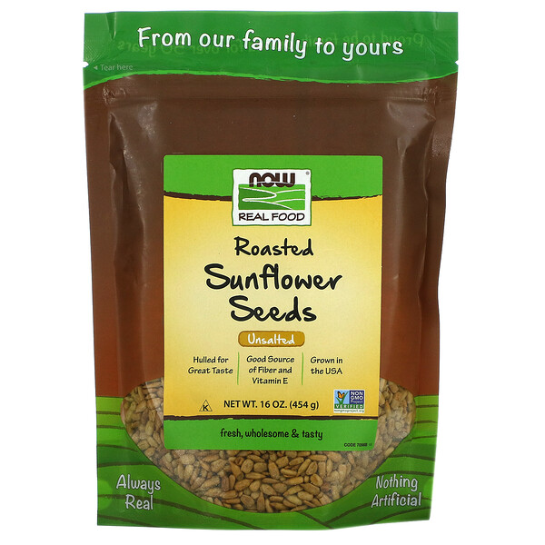 Real Food, Roasted Sunflower Seeds, Unsalted, 16 oz (454 g)