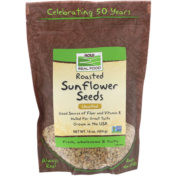 Roasted Sunflower Seeds, Unsalted, 16 oz (454 g)