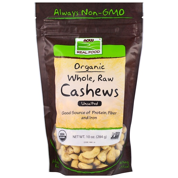 Real Food, Organic, Whole, Raw Cashews, Unsalted, 10 oz (284 g)