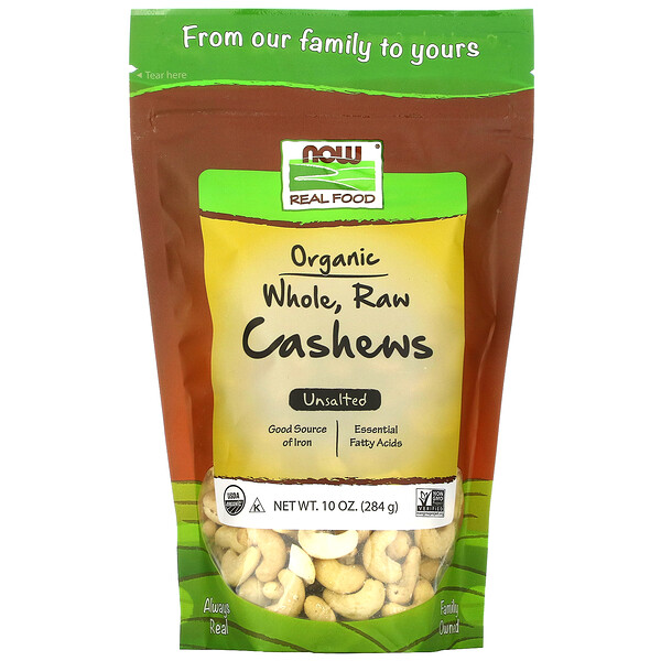 Real Food Organic, Whole, Raw Cashews, Unsalted, 10 oz (284 g)