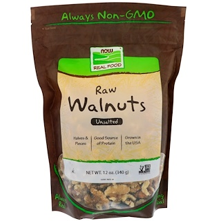Now Foods, Real Food, Raw Walnuts, Unsalted, 12 oz (340 g)