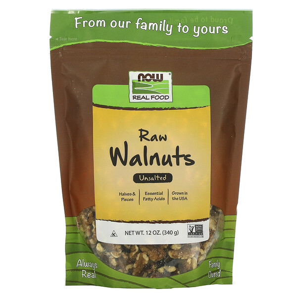 Real Food, Raw Walnuts, Unsalted, 12 oz (340 g)